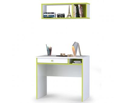 Альфа 12.41 Письменный стол + 09.129 Полка, цвет лайм зелёный/белый премиум, ШхГхВ 85,2х54,5х184,8 см., универсальная сборка
