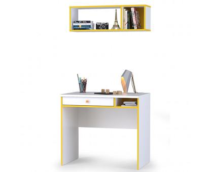 Альфа 12.41 Письменный стол + 09.129 Полка, цвет солнечный свет/белый премиум, ШхГхВ 85,2х54,5х184,8 см., универсальная сборка
