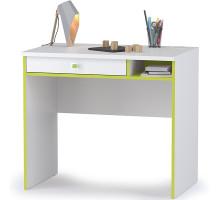 Альфа 12.41 Письменный стол, цвет лайм зелёный/белый премиум, ШхГхВ 85,2х54,5х76,3 см., универсальная сборка