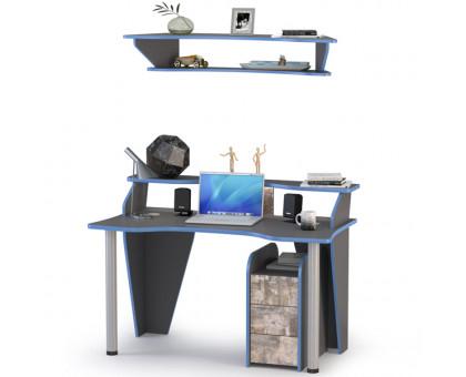 Индиго Стол компьютерный 12.61 + Полка 10.111 + Тумба 10.94, цвет тёмно серый/граффити, ШхГхВ 135,4х70х150 см., универсальная сборка