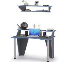 Индиго Стол компьютерный 12.61 + Полка 10.111, цвет тёмно серый/граффити, ШхГхВ 135,4х70х150 см., можно установить подсветку 12.61 (L=1100 мм.)