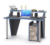 Индиго Стол компьютерный 12.61 + Тумба 10.94, цвет тёмно серый/граффити, ШхГхВ 135,4х70х91,5 см., универсальная сборка