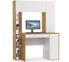 Стол компьютерный Комфорт 12.71, цвет дуб золотой/белый, ШхГхВ 116,7х60,2х165,4 см., НЕ универсальная сборка