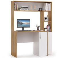 Стол компьютерный Комфорт 12.74, цвет дуб золотой/белый, ШхГхВ 126,7х60,2х165,4 см., НЕ универсальная сборка