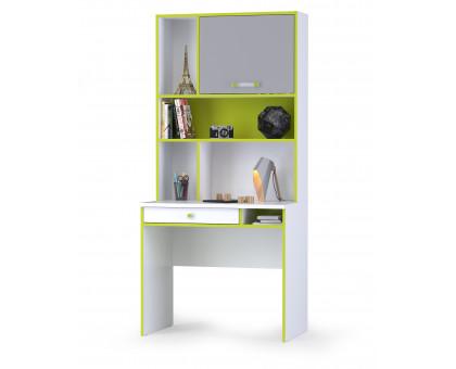 Альфа 12.41 Письменный стол + 13.165 Надстройка, цвет лайм зелёный/белый премиум/стальной серый, ШхГхВ 85,2х54,5х184,8 см., универсальная сборка