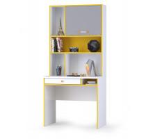 Альфа 12.41 Письменный стол + 13.165 Надстройка, цвет солнечный свет/белый премиум/стальной серый, ШхГхВ 85,2х54,5х184,8 см., универсальная сборка