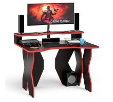Стол компьютерный с надстройкой С-МД-СК6-1200Н, цвет венге/кромка красная, ШхГхВ 120х90х91(75) см. (Стол для геймера Краб-6 с надстройкой)