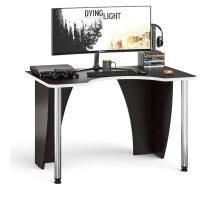 Стол компьютерный С-МД-СК2-1200-750, цвет венге/кромка белая, ШхГхВ 120х75х75 см., опора хром D50 мм. (Стол для геймера)