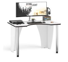 Стол компьютерный С-МД-СК2-1200-750, цвет белый/кромка венге, ШхГхВ 120х75х75 см., опора хром D50 мм. (Стол для геймера)