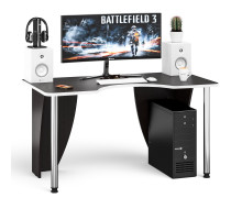 Стол компьютерный С-МД-СК2-1400-750, цвет венге/кромка белая, ШхГхВ 140х75х75 см., опора хром D50 мм. (Стол для геймера)