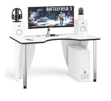 Стол компьютерный С-МД-СК2-1400-750, цвет белый/кромка венге, ШхГхВ 140х75х75 см., опора хром D50 мм. (Стол для геймера)