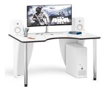 Стол компьютерный С-МД-СК2-1400-900, цвет белый/кромка венге, ШхГхВ 140х90х75 см., опора хром D50 мм. (Стол для геймера)
