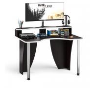 Стол компьютерный с надстройкой С-МД-СК2Н-1200-750, цвет венге/кромка белая, ШхГхВ 120х75х91(75) см., опора хром D50 мм. (Стол геймера с надстройкой)