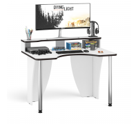 Стол компьютерный с надстройкой С-МД-СК2Н-1200-750, цвет белый/кромка венге, ШхГхВ 120х75х91(75) см., опора хром D50 мм. (Стол геймера с надстройкой)