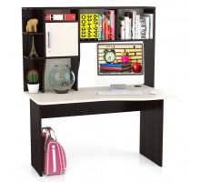 Стол компьютерный С-Лидер-5, цвет венге/дуб, ШхГхВ 130х76х154 см., универсальная сборка