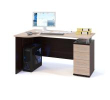 Стол компьютерный Сокол КСТ-104П(КСТ-104.1П) правый, цвет дуб венге/белёный дуб, ШхГхВ 140х86х75 см., ящики справа