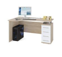 Стол компьютерный Сокол КСТ-104П(КСТ-104.1П) правый, цвет дуб сонома/белый, ШхГхВ 140х86х75 см., ящики справа, код КСТ104П В