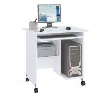Стол компьютерный Сокол КСТ-10-1, цвет белый, ШхГхВ 80х60х80 см., стол компьютерный на поворотных колёсах