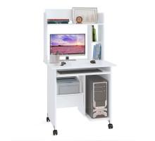 Стол компьютерный Сокол КСТ-10.1+КН-01, цвет белый, ШхГхВ 80х60х148 см., стол компьютерный на поворотных колёсах с надстройкой