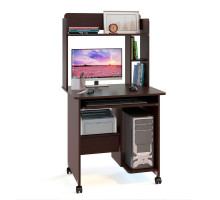 Стол компьютерный Сокол КСТ-10.1+КН-01, цвет венге, ШхГхВ 80х60х148 см., стол компьютерный на поворотных колёсах с надстройкой