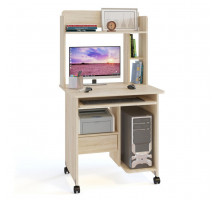 Стол компьютерный Сокол КСТ-10.1+КН-01, цвет дуб сонома, ШхГхВ 80х60х148 см., стол компьютерный на поворотных колёсах с надстройкой
