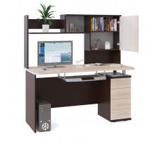 Стол компьютерный Сокол КСТ-105-1+КН-14, цвет дуб венге/белёный дуб, ШхГхВ 140х60х147 см., универсальная сборка, стол компьютерный с надстройкой